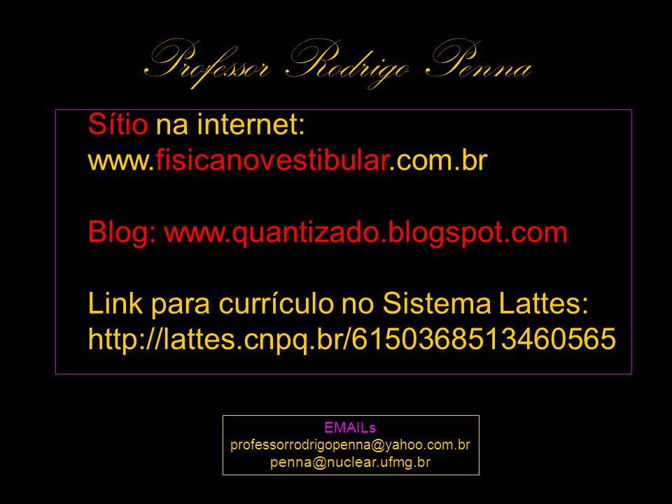 Sítio na internet: www.fisicanovestibular.com.br Blog: www.quantizado.blogspot.com Link para currículo no Sistema Lattes: http://lattes.cnpq.br/615036