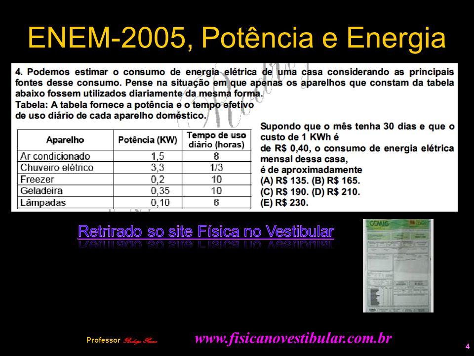 4 ENEM-2005, Potência e Energia 4 Professor Rodrigo Penna www.fisicanovestibular.com.br