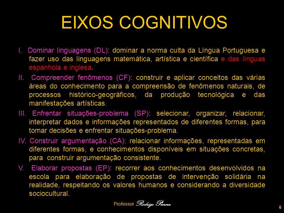 6 EIXOS COGNITIVOS I. Dominar linguagens (DL): dominar a norma culta da Língua Portuguesa e fazer uso das linguagens matemática, artística e científic