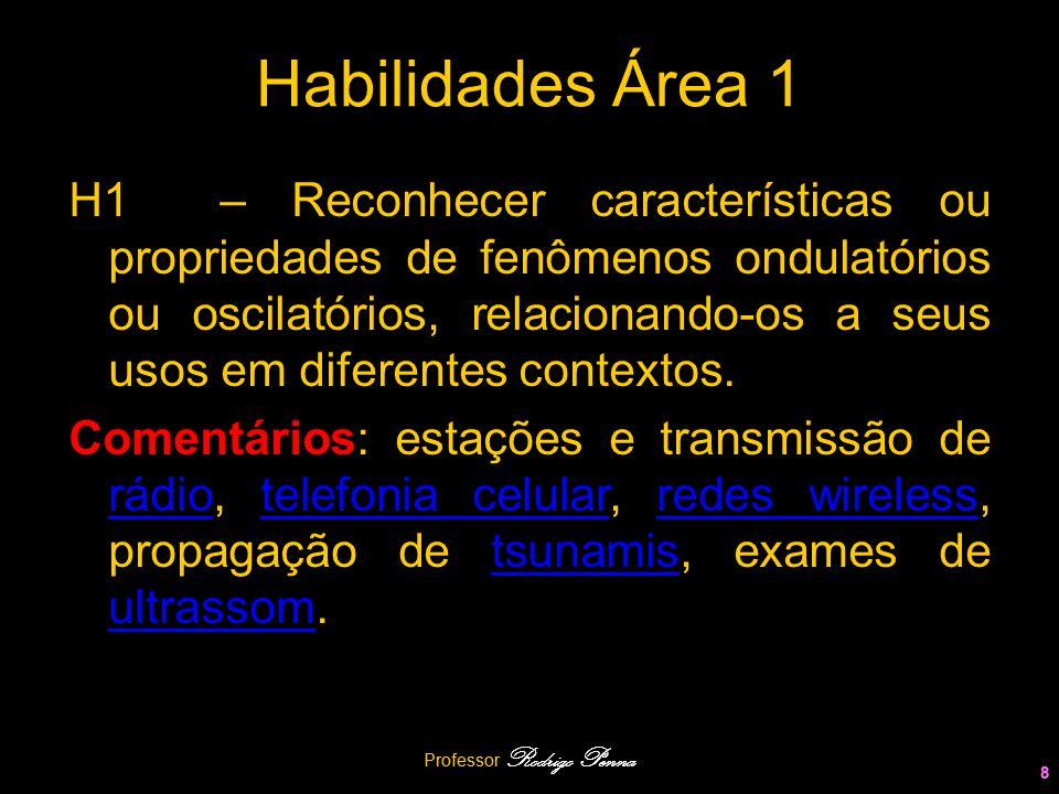 Professor Rodrigo Penna 8 Habilidades Área 1 H1 – Reconhecer características ou propriedades de fenômenos ondulatórios ou oscilatórios, relacionando-o