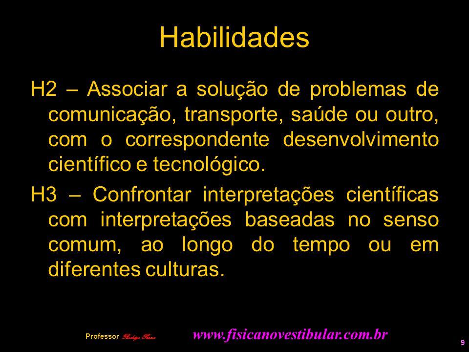 9 Habilidades H2 – Associar a solução de problemas de comunicação, transporte, saúde ou outro, com o correspondente desenvolvimento científico e tecno