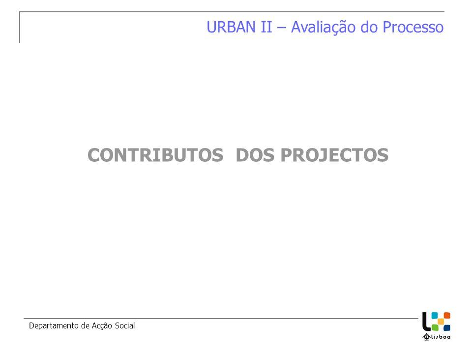 Departamento de Acção Social URBAN II – Avaliação do Processo CONTRIBUTOS DOS PROJECTOS