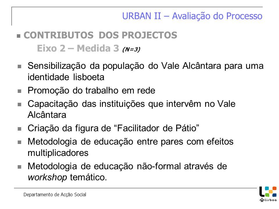 Sensibilização da população do Vale Alcântara para uma identidade lisboeta Promoção do trabalho em rede Capacitação das instituições que intervêm no V