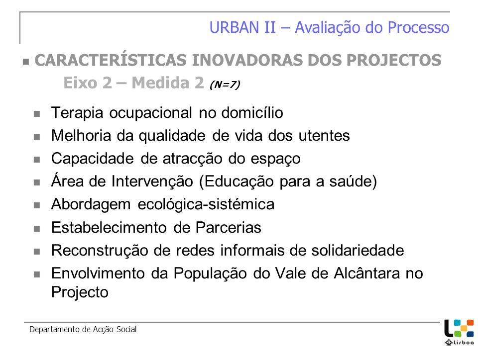 Terapia ocupacional no domicílio Melhoria da qualidade de vida dos utentes Capacidade de atracção do espaço Área de Intervenção (Educação para a saúde) Abordagem ecológica-sistémica Estabelecimento de Parcerias Reconstrução de redes informais de solidariedade Envolvimento da População do Vale de Alcântara no Projecto Departamento de Acção Social Eixo 2 – Medida 2 (N=7) URBAN II – Avaliação do Processo CARACTERÍSTICAS INOVADORAS DOS PROJECTOS