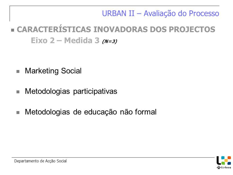Marketing Social Metodologias participativas Metodologias de educação não formal Departamento de Acção Social Eixo 2 – Medida 3 (N=3) URBAN II – Avaliação do Processo CARACTERÍSTICAS INOVADORAS DOS PROJECTOS