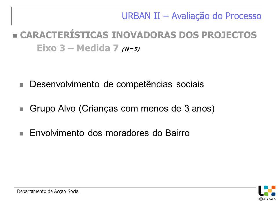 Desenvolvimento de competências sociais Grupo Alvo (Crianças com menos de 3 anos) Envolvimento dos moradores do Bairro Departamento de Acção Social Eixo 3 – Medida 7 (N=5) URBAN II – Avaliação do Processo CARACTERÍSTICAS INOVADORAS DOS PROJECTOS