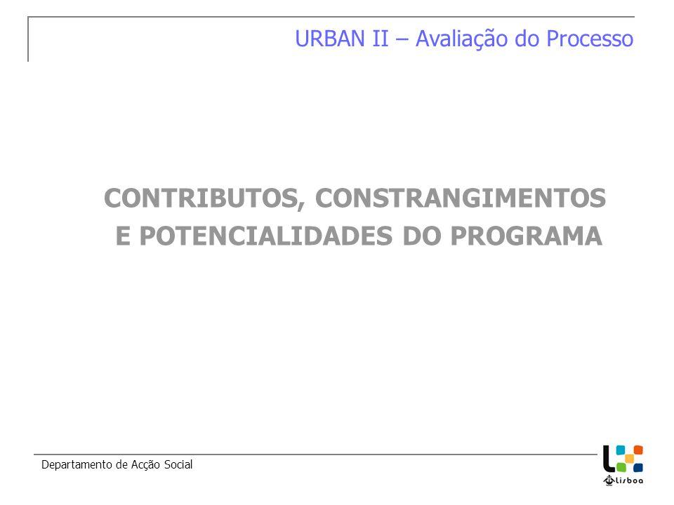 Departamento de Acção Social CONTRIBUTOS, CONSTRANGIMENTOS E POTENCIALIDADES DO PROGRAMA URBAN II – Avaliação do Processo