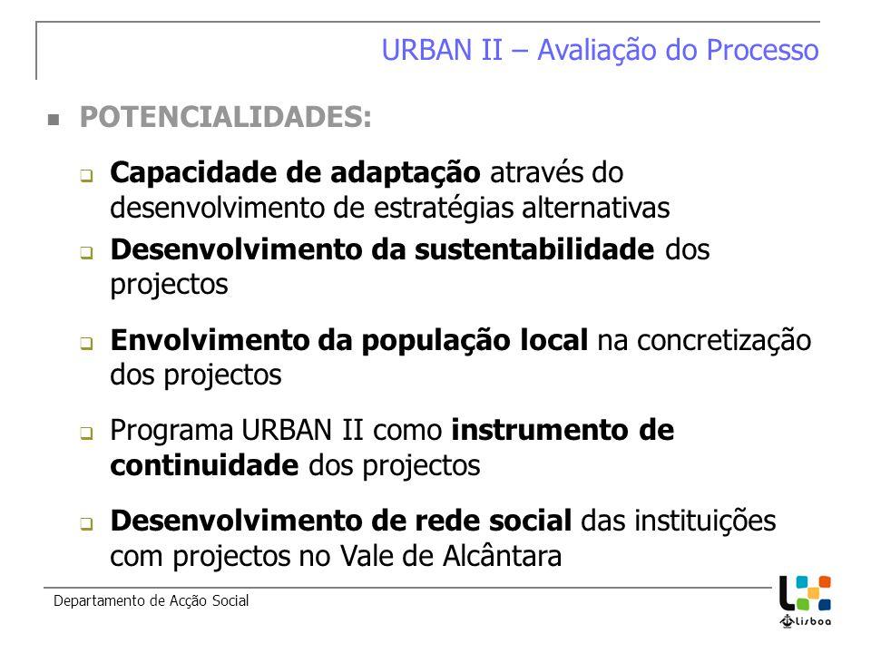 Departamento de Acção Social URBAN II – Avaliação do Processo POTENCIALIDADES: Capacidade de adaptação através do desenvolvimento de estratégias alter