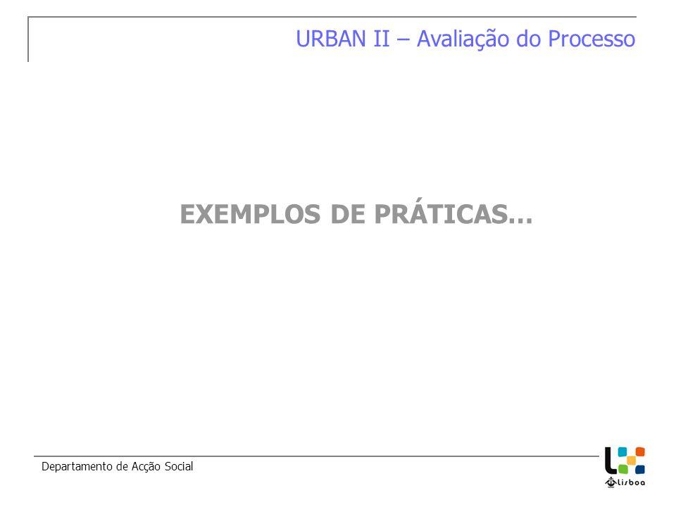 Departamento de Acção Social EXEMPLOS DE PRÁTICAS… URBAN II – Avaliação do Processo