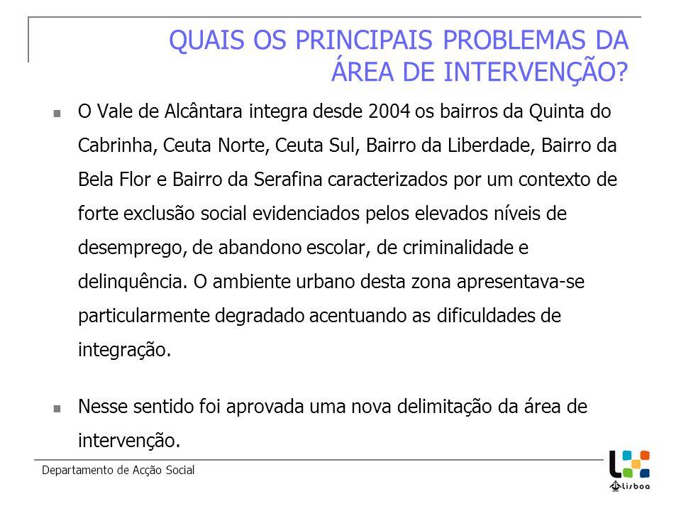 Departamento de Acção Social QUAIS OS PRINCIPAIS PROBLEMAS DA ÁREA DE INTERVENÇÃO? O Vale de Alcântara integra desde 2004 os bairros da Quinta do Cabr