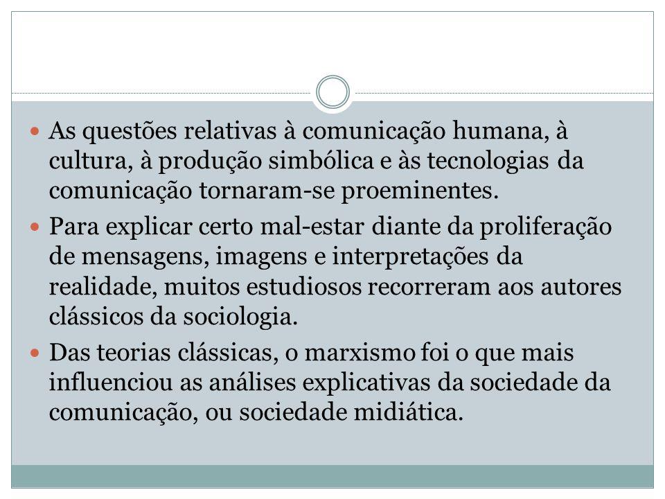As questões relativas à comunicação humana, à cultura, à produção simbólica e às tecnologias da comunicação tornaram-se proeminentes. Para explicar ce