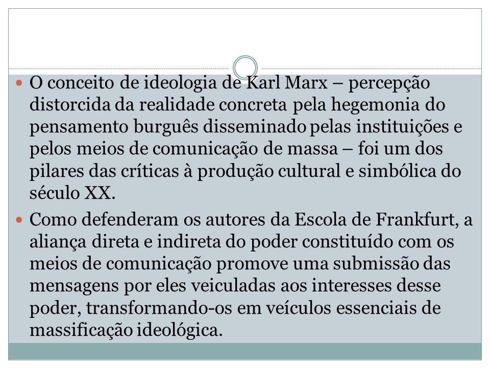 O conceito de ideologia de Karl Marx – percepção distorcida da realidade concreta pela hegemonia do pensamento burguês disseminado pelas instituições
