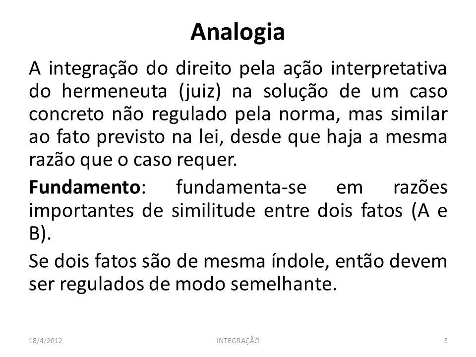 Analogia A integração do direito pela ação interpretativa do hermeneuta (juiz) na solução de um caso concreto não regulado pela norma, mas similar ao