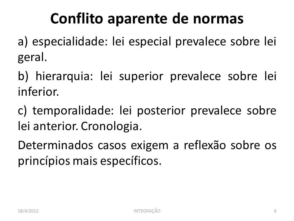 a) especialidade: lei especial prevalece sobre lei geral. b) hierarquia: lei superior prevalece sobre lei inferior. c) temporalidade: lei posterior pr