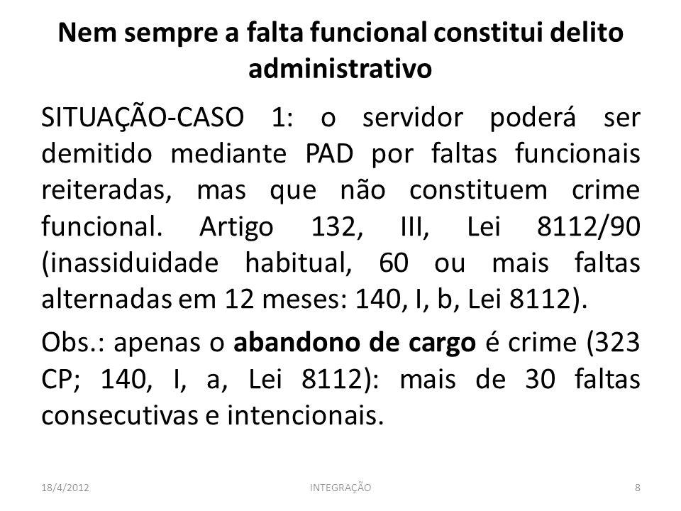 Nem sempre a falta funcional constitui delito administrativo SITUAÇÃO-CASO 1: o servidor poderá ser demitido mediante PAD por faltas funcionais reiter
