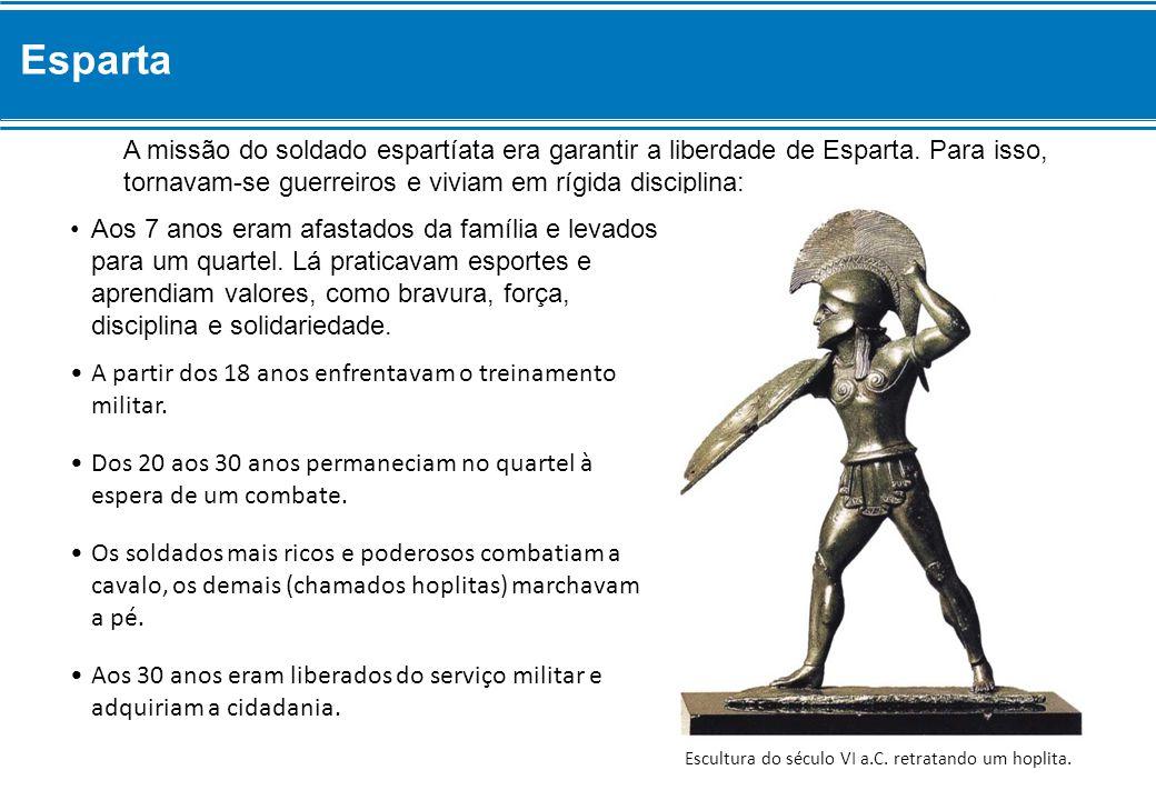 A missão do soldado espartíata era garantir a liberdade de Esparta.