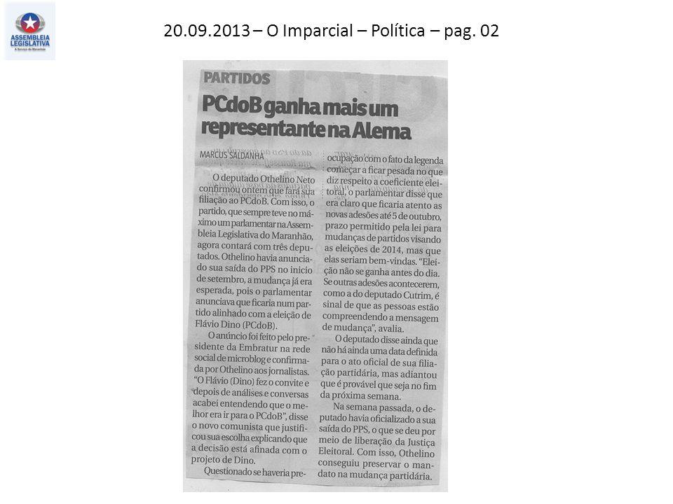 20.09.2013 – O Imparcial – Política – pag. 02