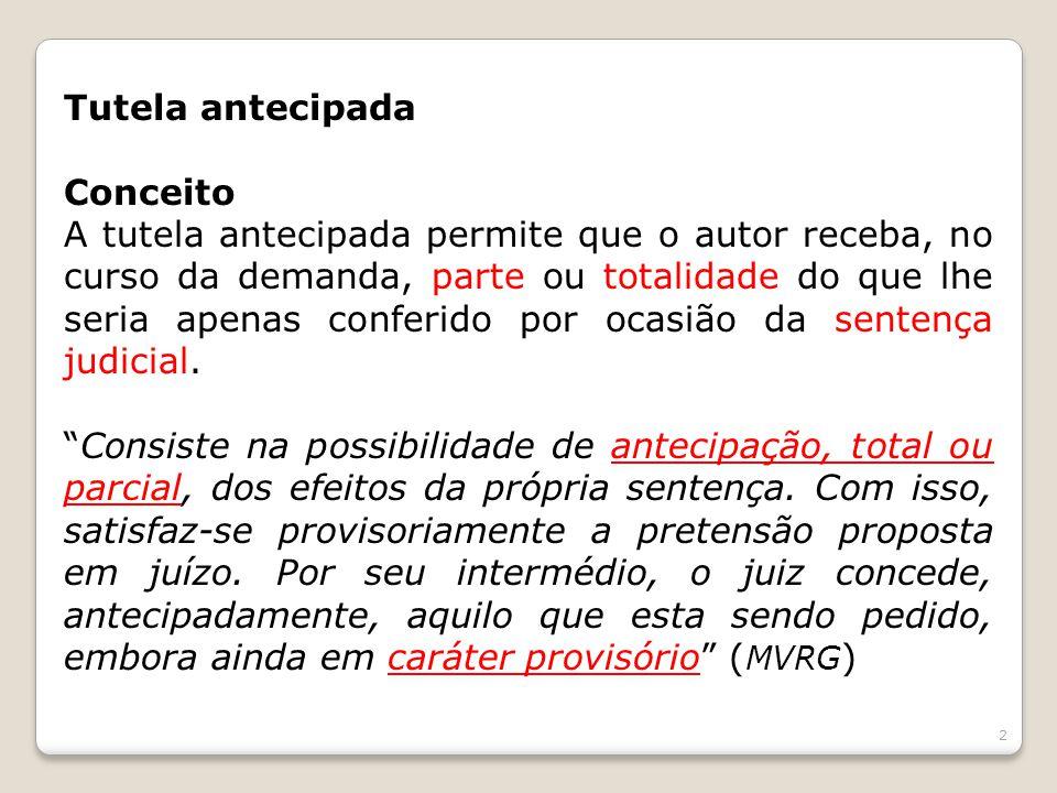 Tutela antecipada Previsão legal: Art.273, CPC Art.