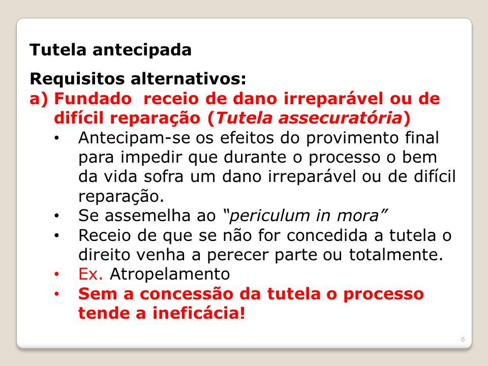 Tutela antecipada Requisitos alternativos: a)Fundado receio de dano irreparável ou de difícil reparação (Tutela assecuratória) Antecipam-se os efeitos