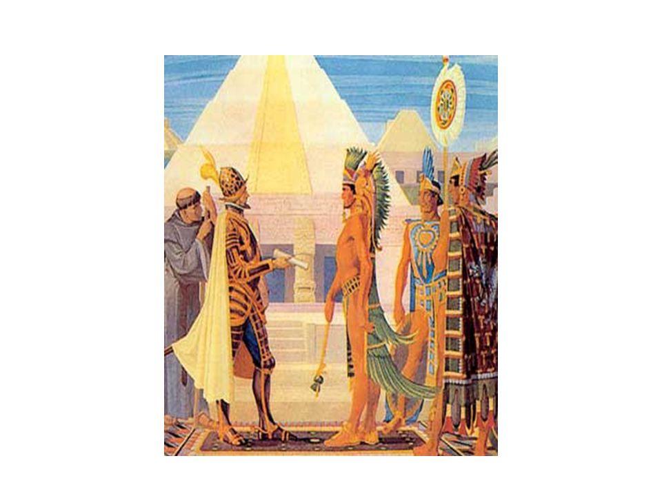 A conquista das terras astecas Astecas atacam os espanhóis depois de uma matança na cidade; Espanhóis se refugiaram em Tlaxcala; Cortés formou um exército com 150 mil indígenas e 900 espanhóis; Em 1521 marcharam para a capital e, depois de 75 dias de luta, o imperador asteca se rendeu.