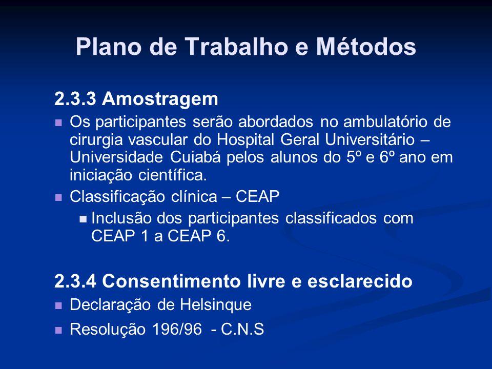 Plano de Trabalho e Métodos 2.3.3 Amostragem Os participantes serão abordados no ambulatório de cirurgia vascular do Hospital Geral Universitário – Un
