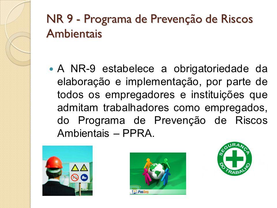 A NR-9 estabelece a obrigatoriedade da elaboração e implementação, por parte de todos os empregadores e instituições que admitam trabalhadores como em