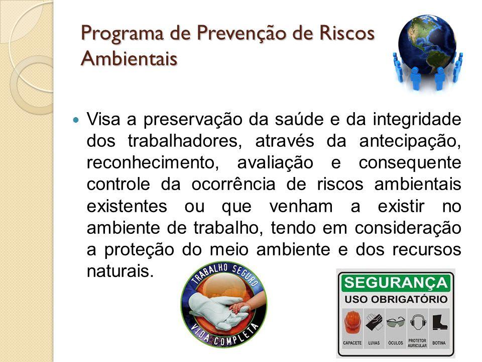 Programa de Prevenção de Riscos Ambientais Visa a preservação da saúde e da integridade dos trabalhadores, através da antecipação, reconhecimento, ava