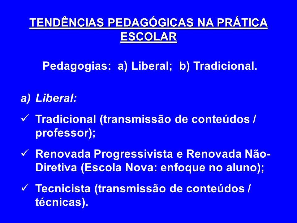 TENDÊNCIAS PEDAGÓGICAS NA PRÁTICA ESCOLAR Pedagogias: a) Liberal; b) Tradicional. a)Liberal: Tradicional (transmissão de conteúdos / professor); Renov