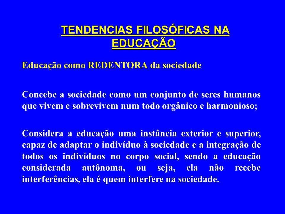 TENDENCIAS FILOSÓFICAS NA EDUCAÇÃO Educação como REDENTORA da sociedade Concebe a sociedade como um conjunto de seres humanos que vivem e sobrevivem n