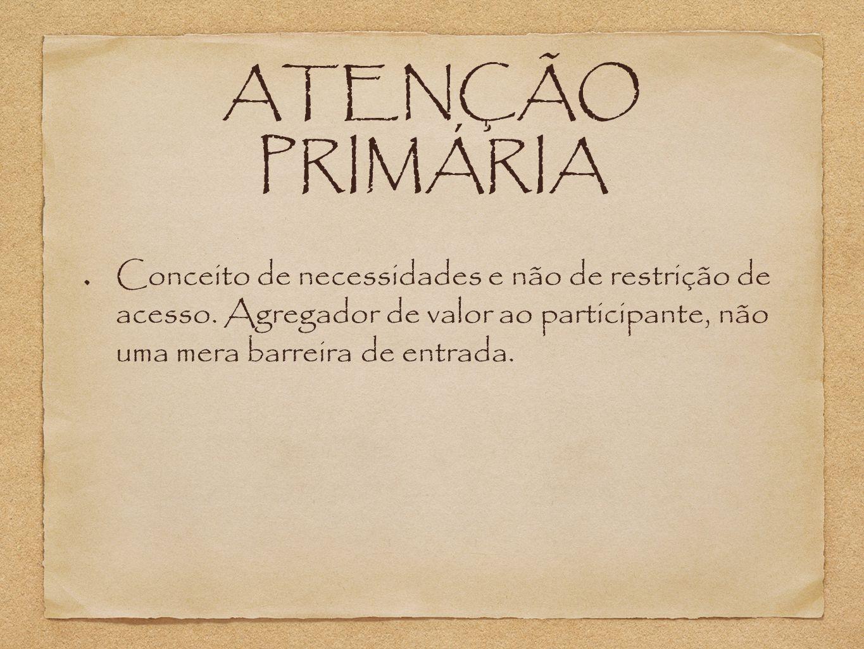 ATENÇÃO PRIMÁRIA Conceito de necessidades e não de restrição de acesso.