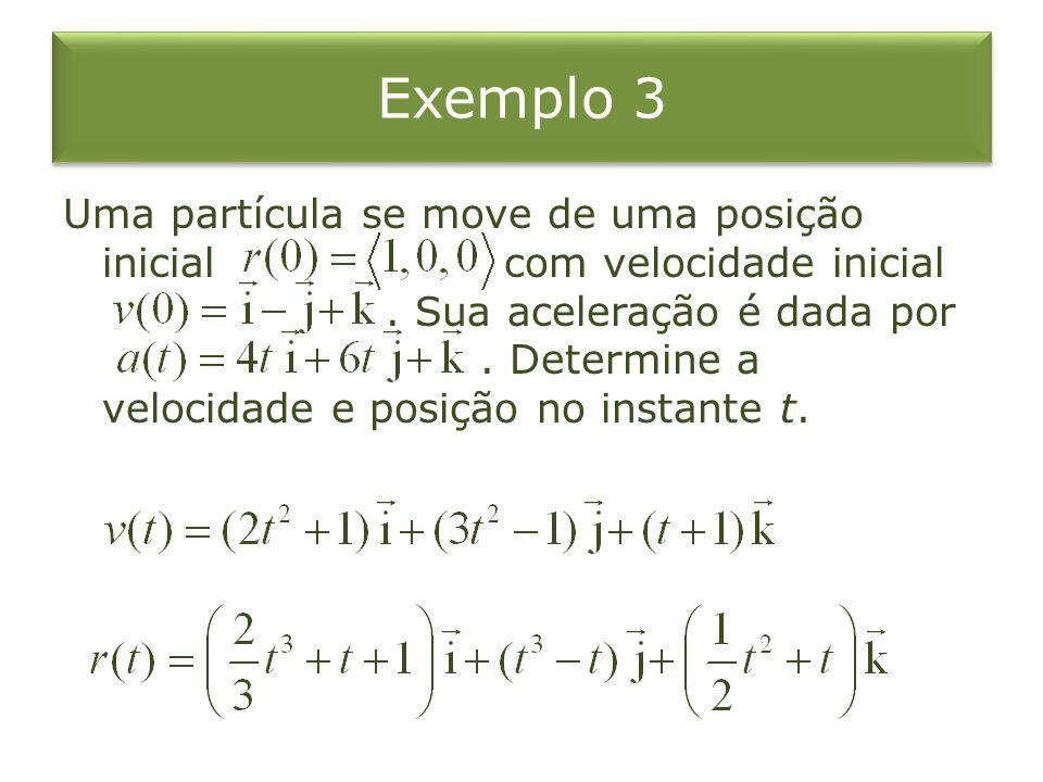 Exemplo 3 Uma partícula se move de uma posição inicial com velocidade inicial. Sua aceleração é dada por. Determine a velocidade e posição no instante