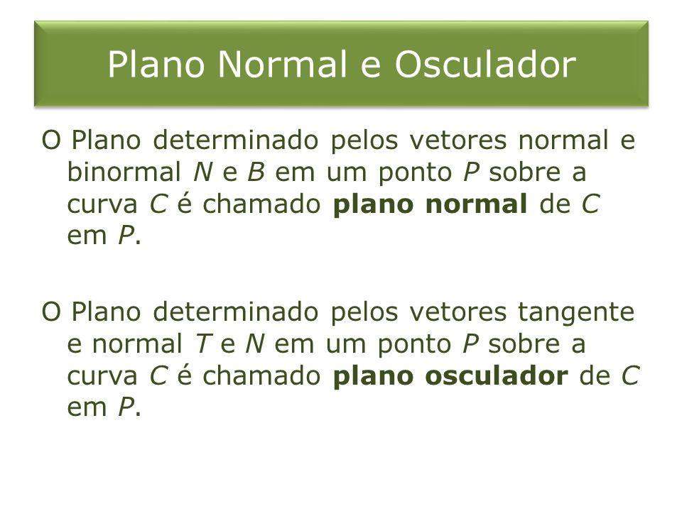Plano Normal e Osculador O Plano determinado pelos vetores normal e binormal N e B em um ponto P sobre a curva C é chamado plano normal de C em P. O P