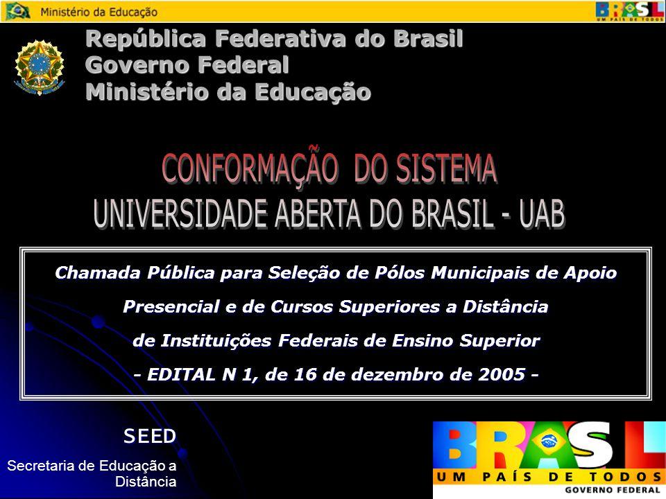 República Federativa do Brasil Governo Federal Ministério da Educação Chamada Pública para Seleção de Pólos Municipais de Apoio Presencial e de Cursos Superiores a Distância de Instituições Federais de Ensino Superior - EDITAL N 1, de 16 de dezembro de 2005 - SEED Secretaria de Educação a Distância