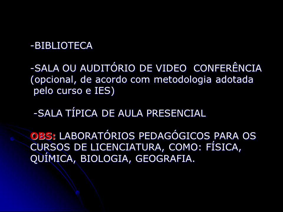 -BIBLIOTECA -SALA OU AUDITÓRIO DE VIDEO CONFERÊNCIA (opcional, de acordo com metodologia adotada pelo curso e IES) -SALA TÍPICA DE AULA PRESENCIAL OBS: LABORATÓRIOS PEDAGÓGICOS PARA OS CURSOS DE LICENCIATURA, COMO: FÍSICA, QUÍMICA, BIOLOGIA, GEOGRAFIA.