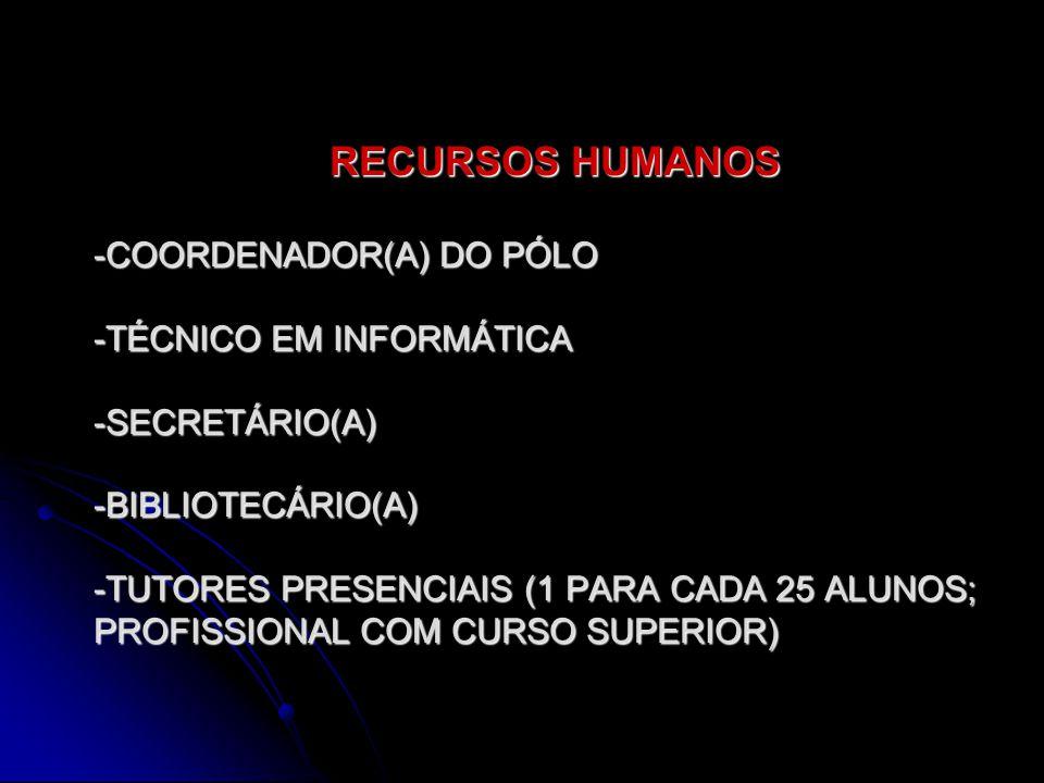 RECURSOS HUMANOS RECURSOS HUMANOS -COORDENADOR(A) DO PÓLO -TÉCNICO EM INFORMÁTICA -SECRETÁRIO(A) -BIBLIOTECÁRIO(A) -TUTORES PRESENCIAIS (1 PARA CADA 25 ALUNOS; PROFISSIONAL COM CURSO SUPERIOR)