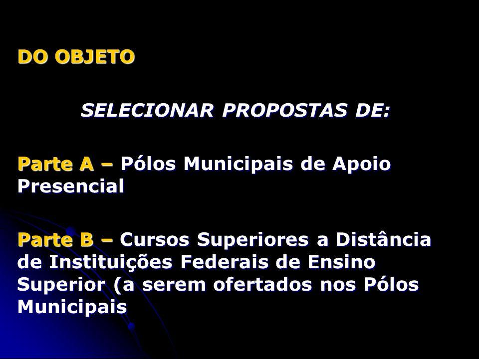 DOS PROPONENTES (A) - PÓLOS MUNICIPAIS DE APOIO PRESENCIAL a) PREFEITURAS MUNICIPAIS, INDIVIDUALMENTE OU REGIONALMENTE ORGANIZADAS b) GOVERNOS ESTADUAIS b) GOVERNOS ESTADUAIS c) GOVERNO DO DISTRITO FEDERAL