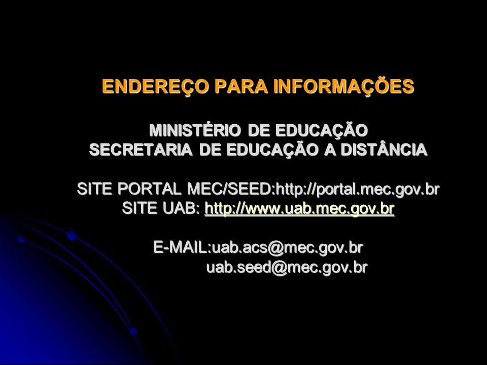 ENDEREÇO PARA INFORMAÇÕES MINISTÉRIO DE EDUCAÇÃO SECRETARIA DE EDUCAÇÃO A DISTÂNCIA SITE PORTAL MEC/SEED:http://portal.mec.gov.br SITE UAB: http://www.uab.mec.gov.br E-MAIL:uab.acs@mec.gov.br uab.seed@mec.gov.br http://www.uab.mec.gov.br