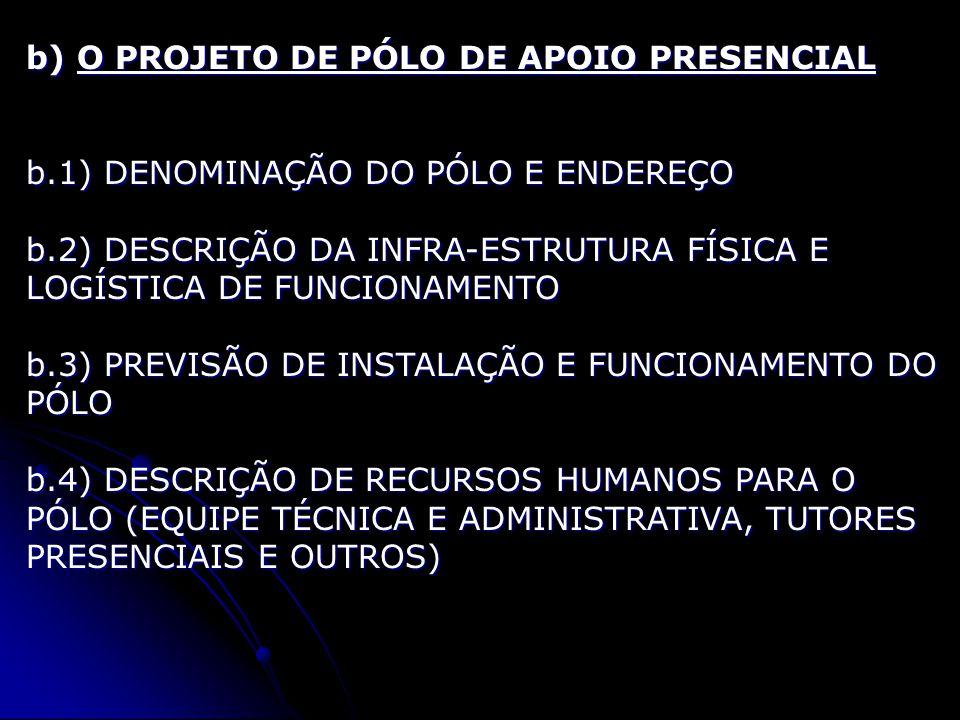 b) O PROJETO DE PÓLO DE APOIO PRESENCIAL b.1) DENOMINAÇÃO DO PÓLO E ENDEREÇO b.2) DESCRIÇÃO DA INFRA-ESTRUTURA FÍSICA E LOGÍSTICA DE FUNCIONAMENTO b.3) PREVISÃO DE INSTALAÇÃO E FUNCIONAMENTO DO PÓLO b.4) DESCRIÇÃO DE RECURSOS HUMANOS PARA O PÓLO (EQUIPE TÉCNICA E ADMINISTRATIVA, TUTORES PRESENCIAIS E OUTROS)