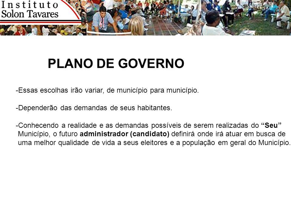 PLANO DE GOVERNO -Essas escolhas irão variar, de município para município. -Dependerão das demandas de seus habitantes. -Conhecendo a realidade e as d