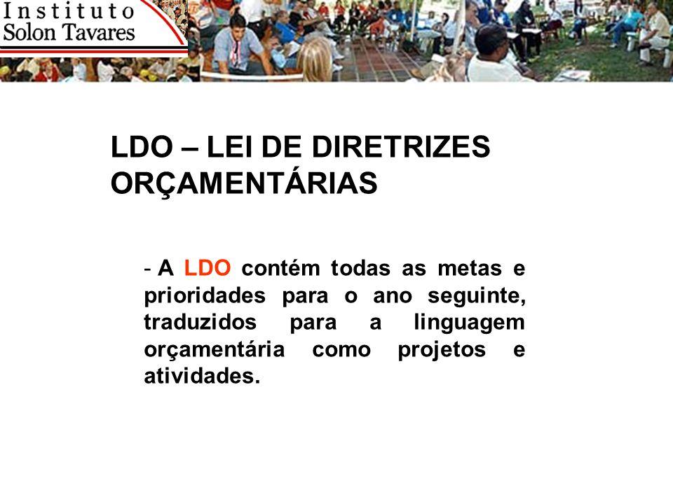 LDO – LEI DE DIRETRIZES ORÇAMENTÁRIAS - A LDO contém todas as metas e prioridades para o ano seguinte, traduzidos para a linguagem orçamentária como p