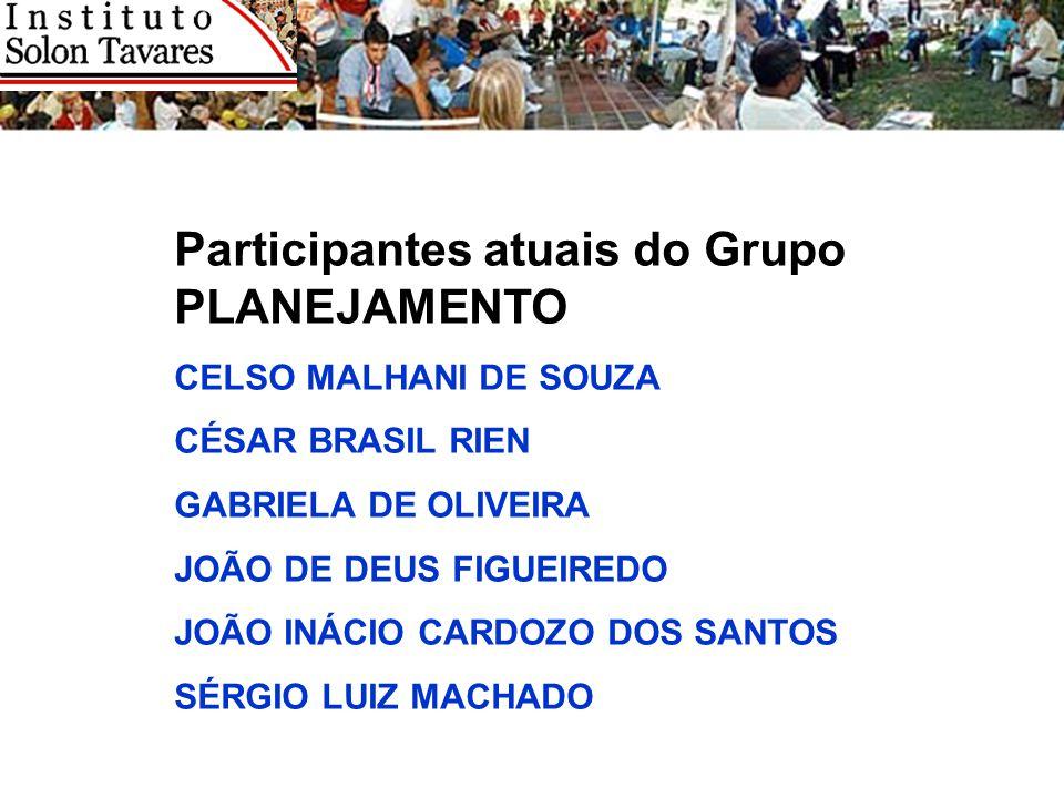 Participantes atuais do Grupo PLANEJAMENTO CELSO MALHANI DE SOUZA CÉSAR BRASIL RIEN GABRIELA DE OLIVEIRA JOÃO DE DEUS FIGUEIREDO JOÃO INÁCIO CARDOZO D