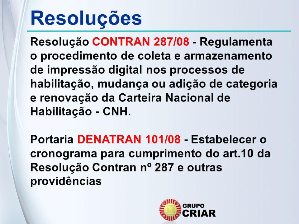 Resoluções Resolução CONTRAN 287/08 - Regulamenta o procedimento de coleta e armazenamento de impressão digital nos processos de habilitação, mudança