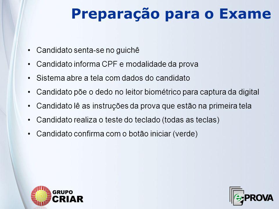 Preparação para o Exame Candidato senta-se no guichê Candidato informa CPF e modalidade da prova Sistema abre a tela com dados do candidato Candidato