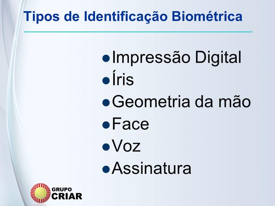 Tipos de Identificação Biométrica Impressão Digital Íris Geometria da mão Face Voz Assinatura