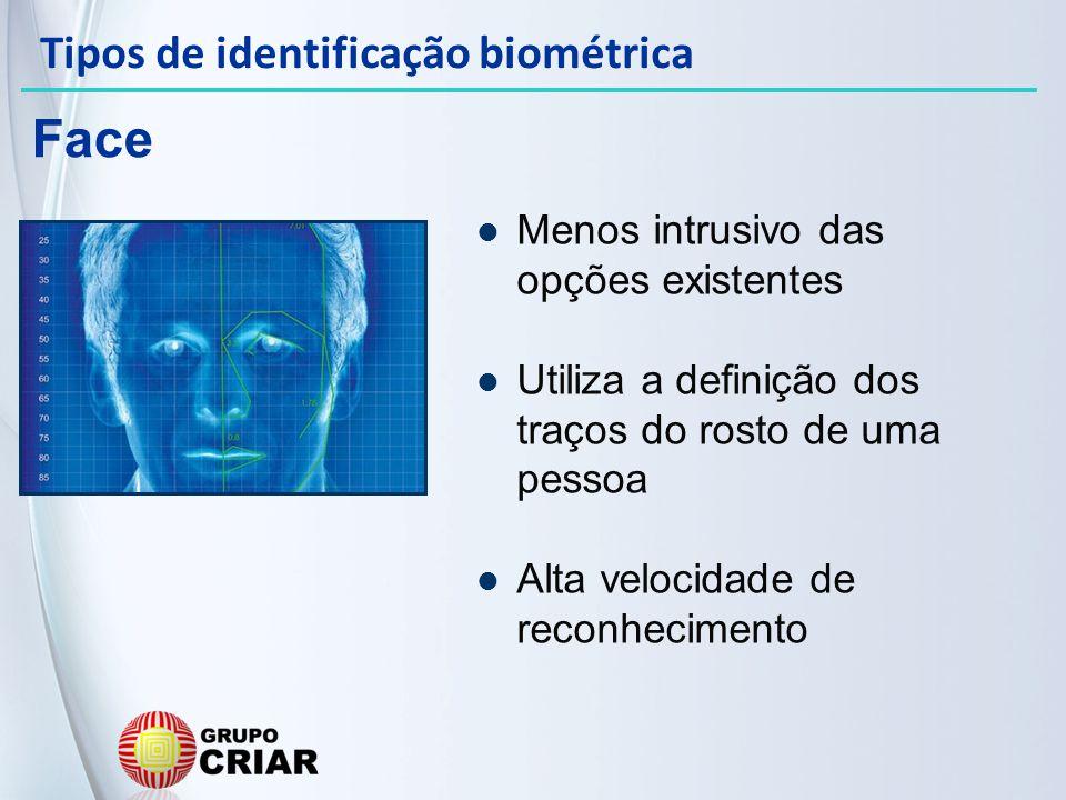 Menos intrusivo das opções existentes Utiliza a definição dos traços do rosto de uma pessoa Alta velocidade de reconhecimento Face Tipos de identifica