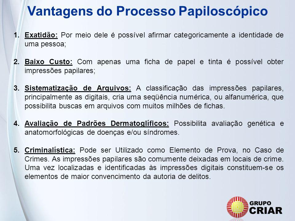 Vantagens do Processo Papiloscópico 1.Exatidão: Por meio dele é possível afirmar categoricamente a identidade de uma pessoa; 2.Baixo Custo: Com apenas