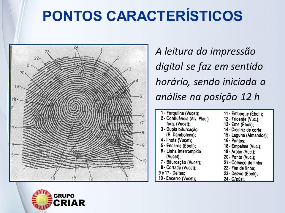 A leitura da impressão digital se faz em sentido horário, sendo iniciada a análise na posição 12 h PONTOS CARACTERÍSTICOS