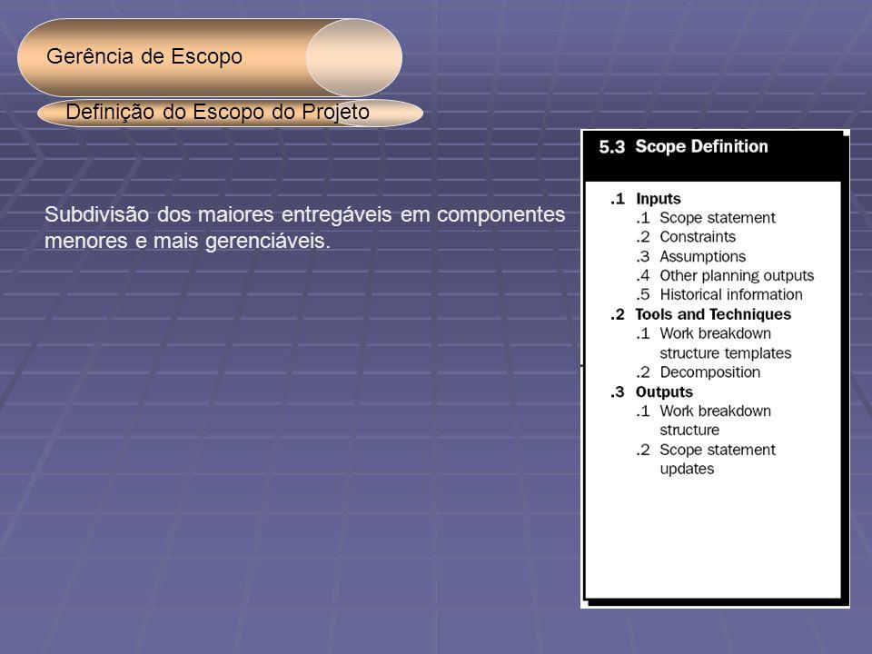Gerência de Escopo Subdivisão dos maiores entregáveis em componentes menores e mais gerenciáveis.