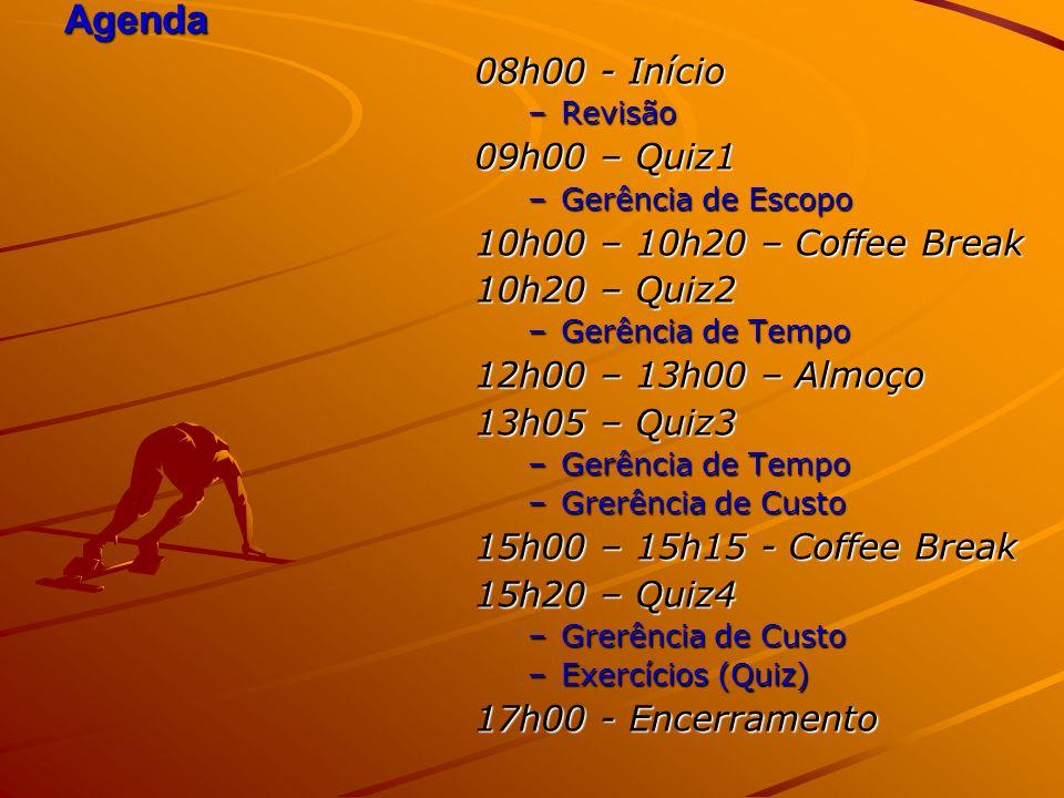 Agenda 08h00 - Início –Revisão 09h00 – Quiz1 –Gerência de Escopo 10h00 – 10h20 – Coffee Break 10h20 – Quiz2 –Gerência de Tempo 12h00 – 13h00 – Almoço 13h05 – Quiz3 –Gerência de Tempo –Grerência de Custo 15h00 – 15h15 - Coffee Break 15h20 – Quiz4 –Grerência de Custo –Exercícios (Quiz) 17h00 - Encerramento