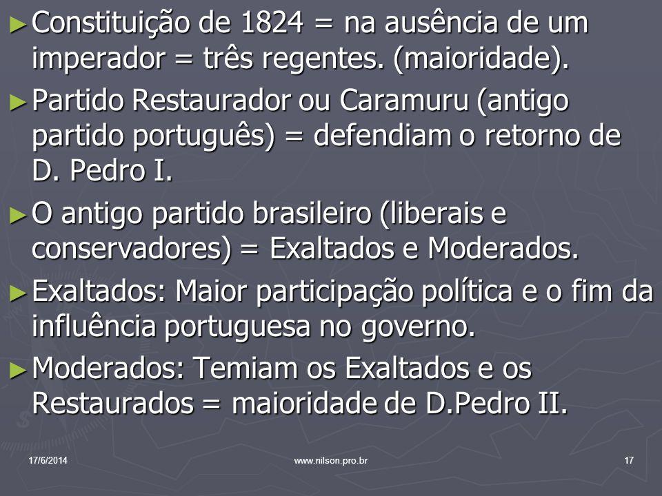 Constituição de 1824 = na ausência de um imperador = três regentes. (maioridade). Constituição de 1824 = na ausência de um imperador = três regentes.